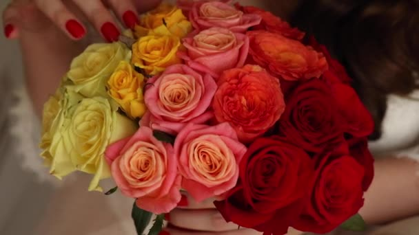 Close up of small beautiful bouquet of colorful flowers.