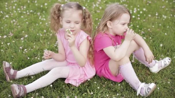 zwei hübsche kleine Mädchen in rosa, die in die Kamera lächeln.