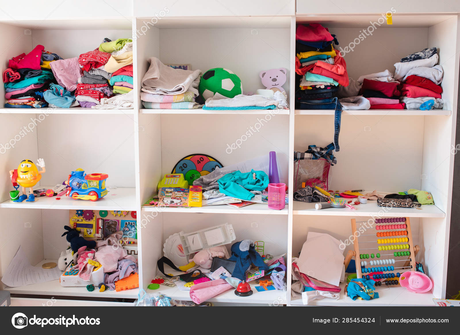 Messy kids room in daylight.View over messy in the kid s ...
