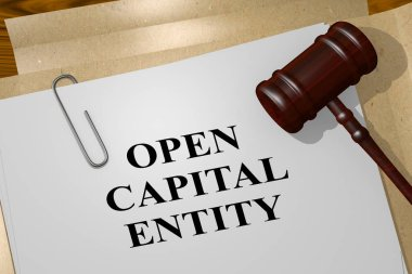 3D illustration of OPEN CAPITAL ENTITY title on legal document
