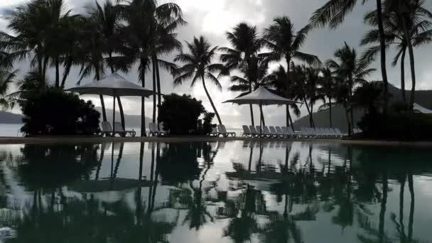 Beautiful tropical luxurious swimming pool shot shot