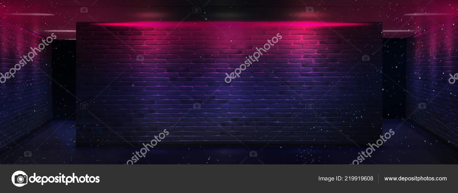 hintergrund eines leeren flur keller tunnel mit ziegel mauern und stockfoto