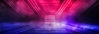 Dark background of the street, thick fog, spotlight, blue and red neon. Abstract background with neon lights, night view.