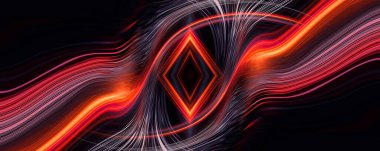 Dark neon background with rays and liquid, flowing lines. Night view, reflection in the water of neon light. Abstract dark bright red neon. 3d illustration