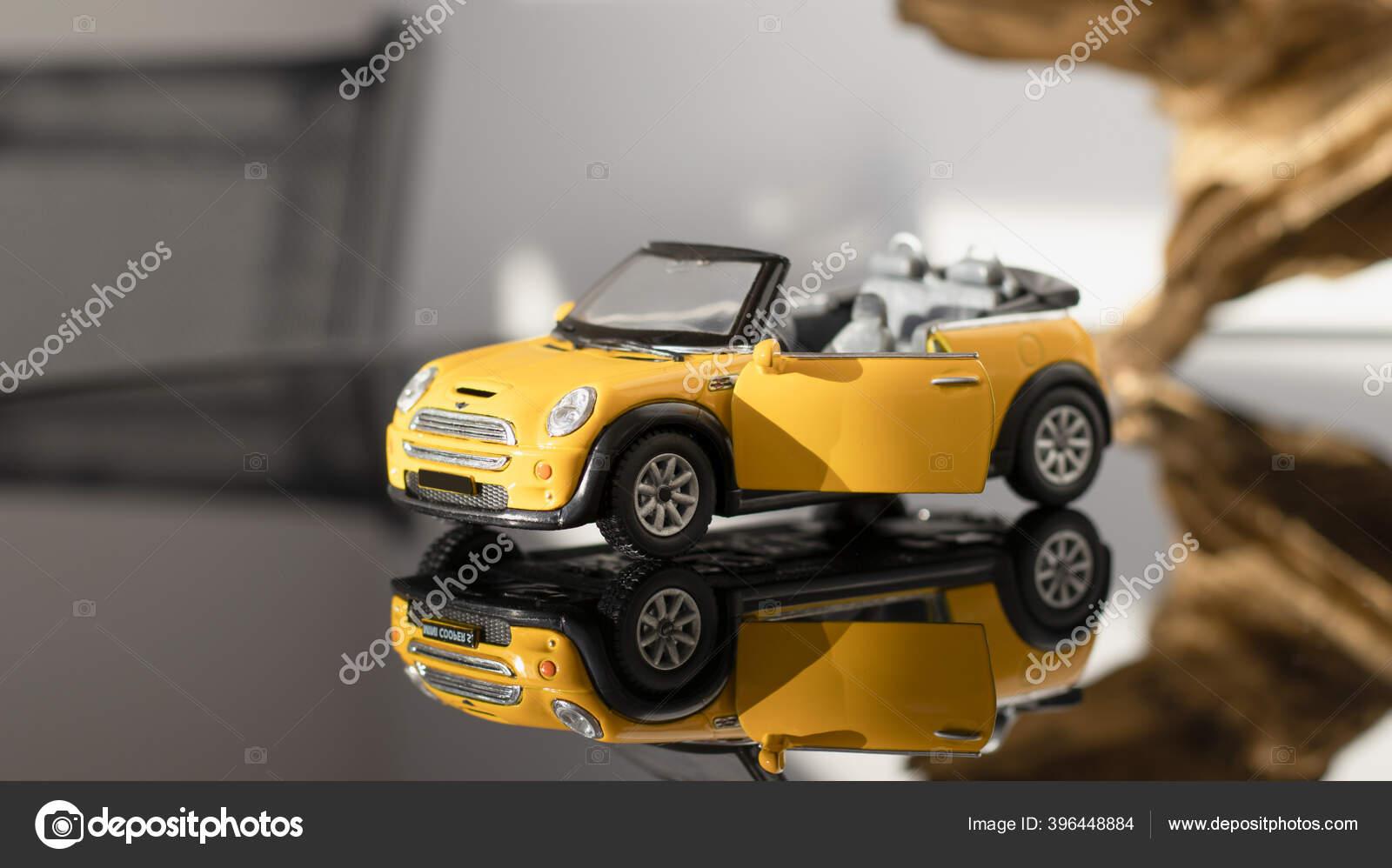 Convertible Model Yellow Mini Cooper Gray Background Yellow Toy Car Stock Editorial Photo C Vitalina G 396448884