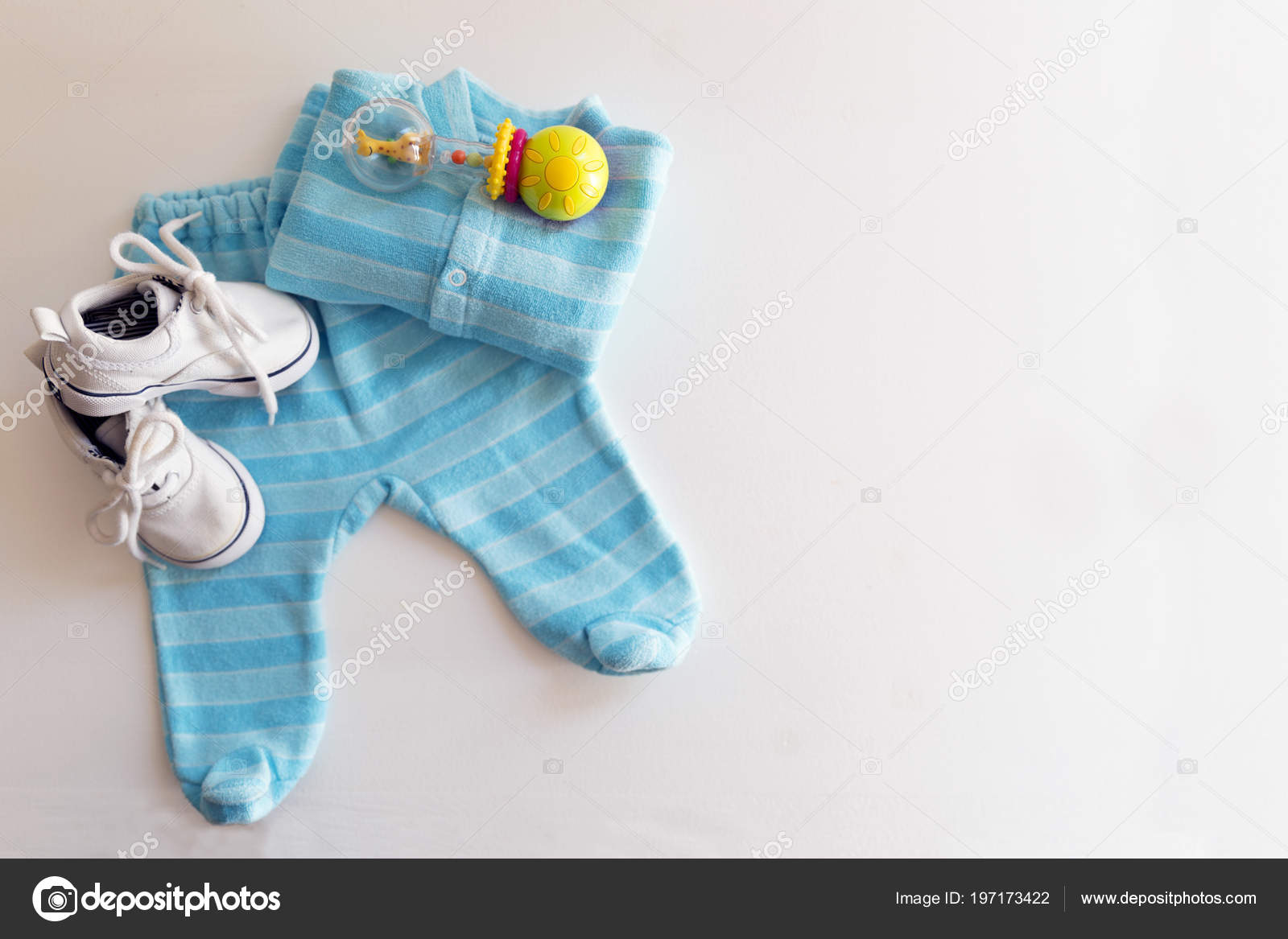 baby stuff white background things little boy rattle shoes