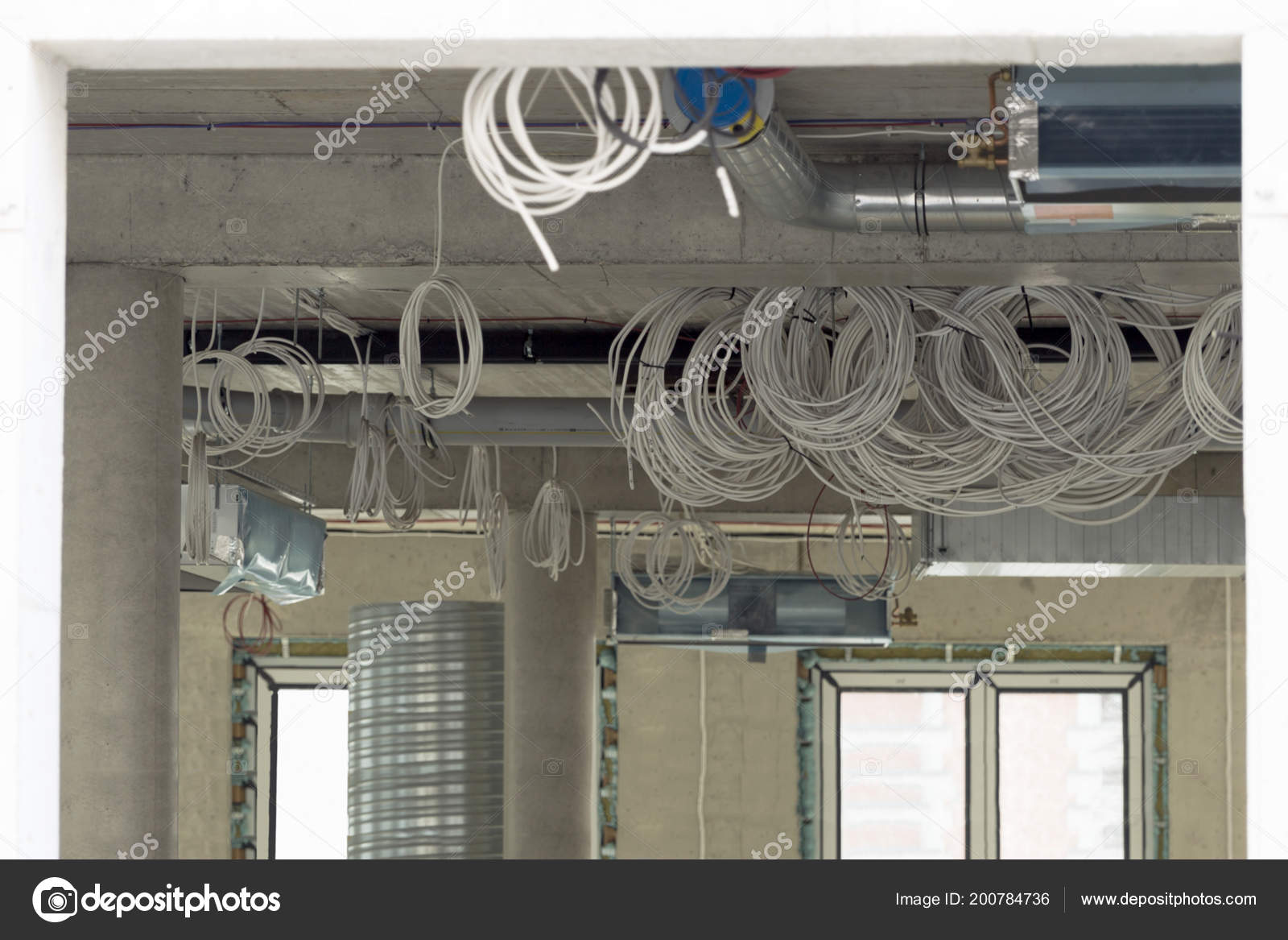 Interior Construction Site Cabling Wiring New Office Place ... on