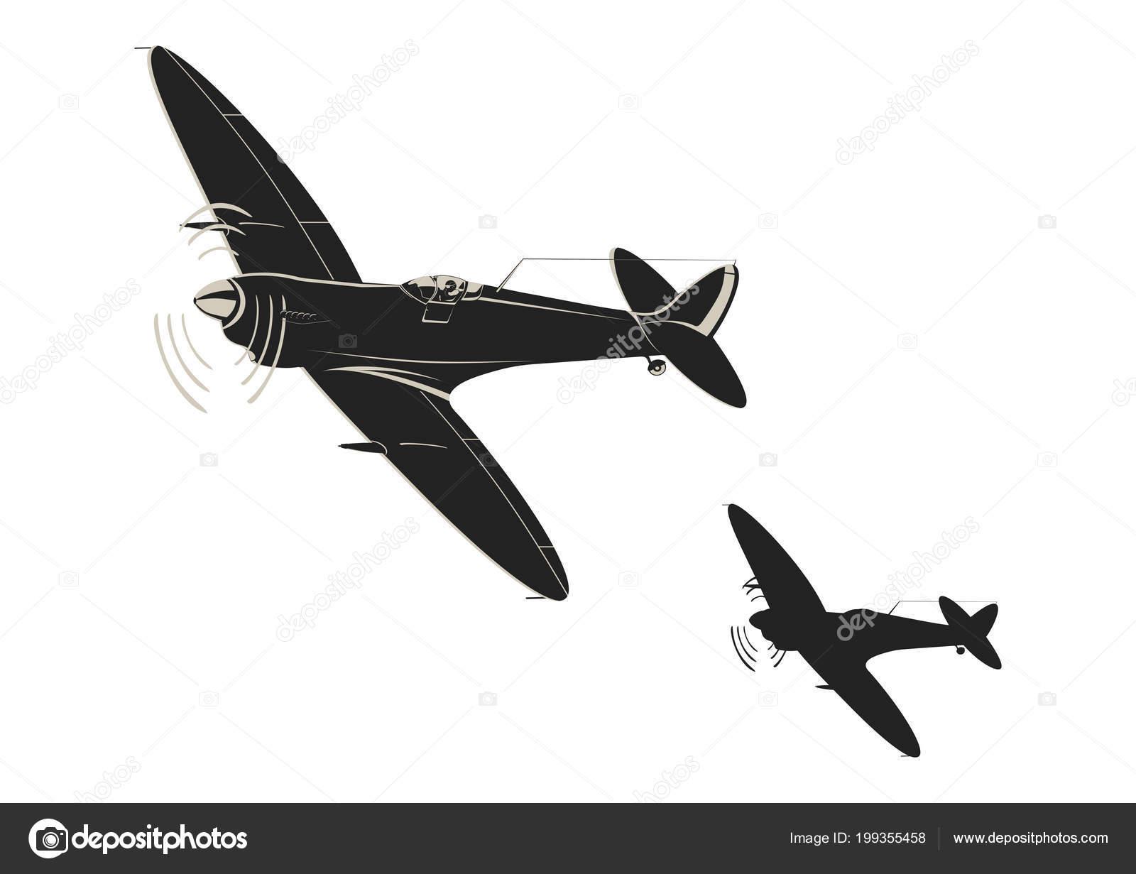 Simplistic Sticker World War Fighter Aircraft Flat Vector