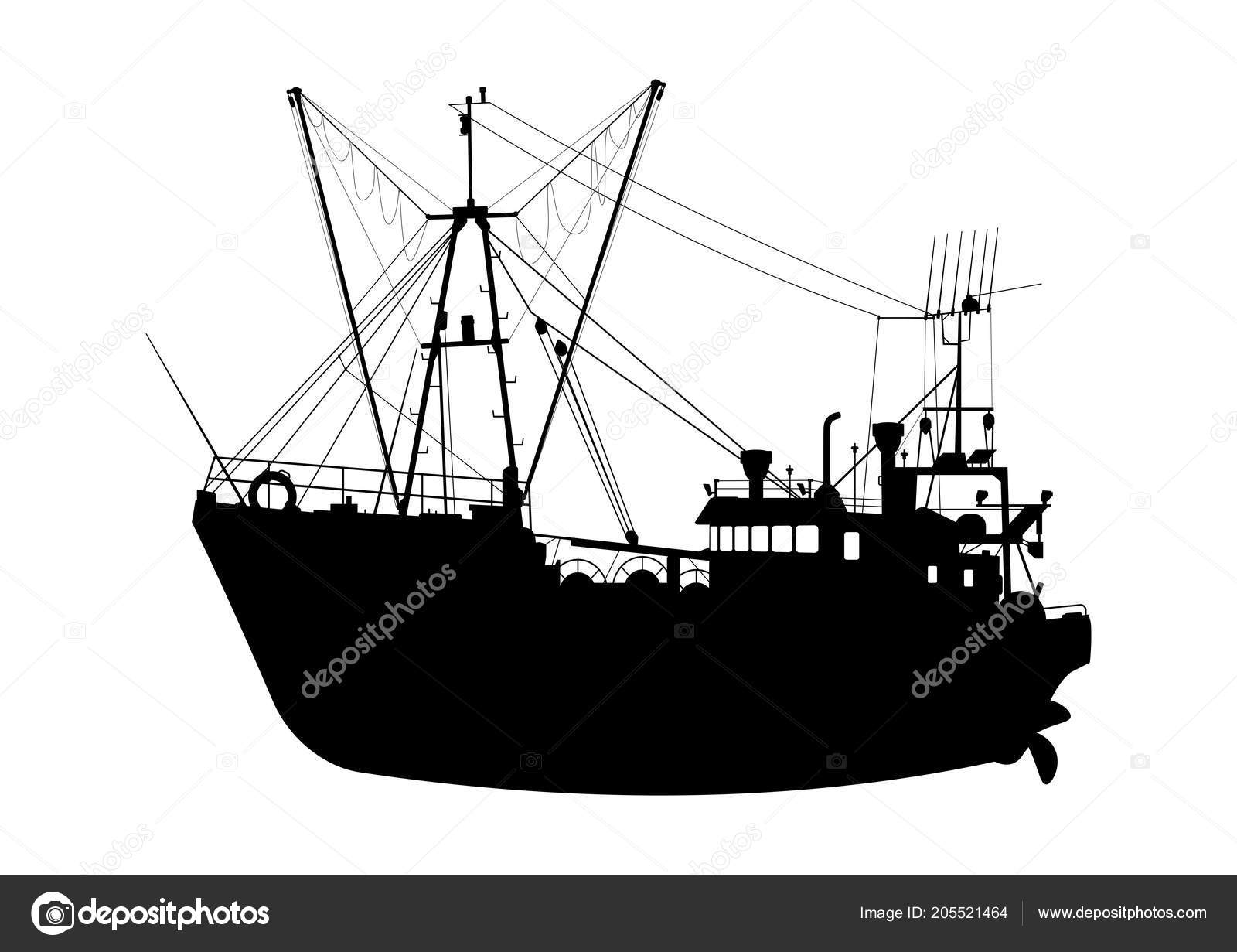 Silhouette Trawler Fishing Boat White Background Flat Vector Stock Vector C Norsob 205521464