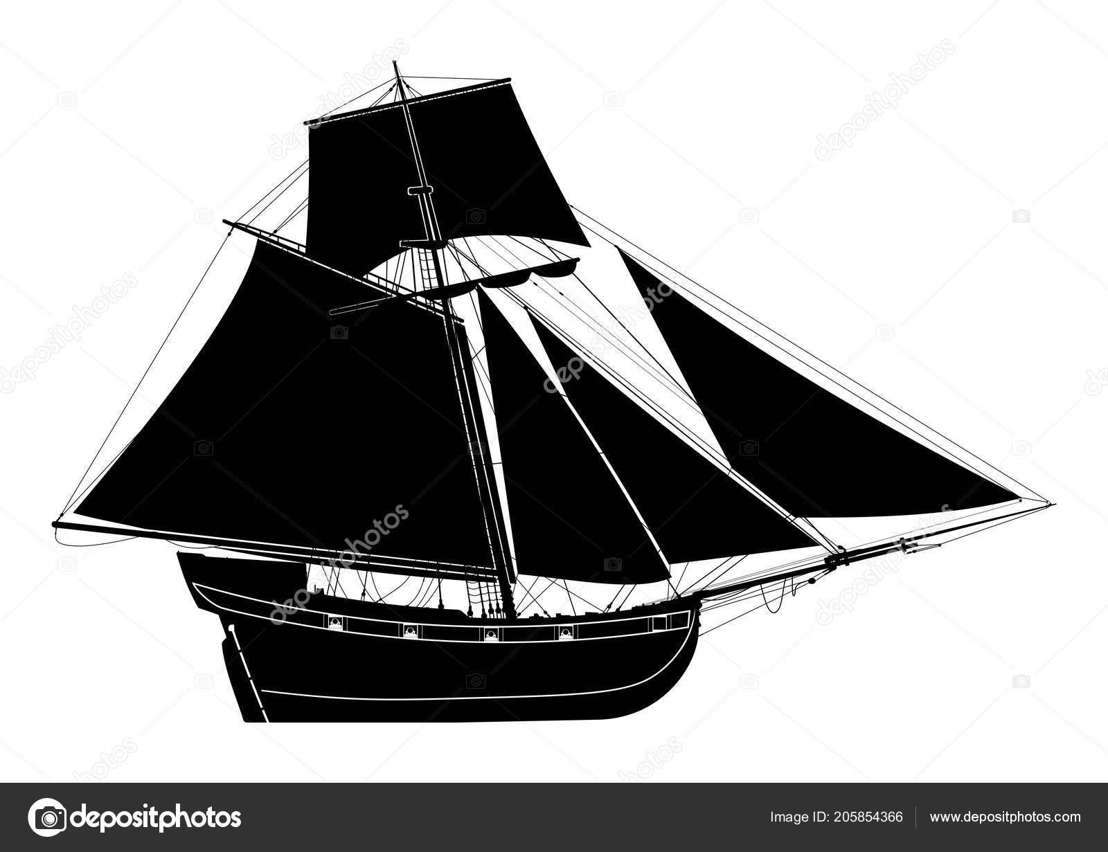 Bermudas Siglo Xvii Barco Vector Pirata — Sloop Del Vela Vista AjR435L