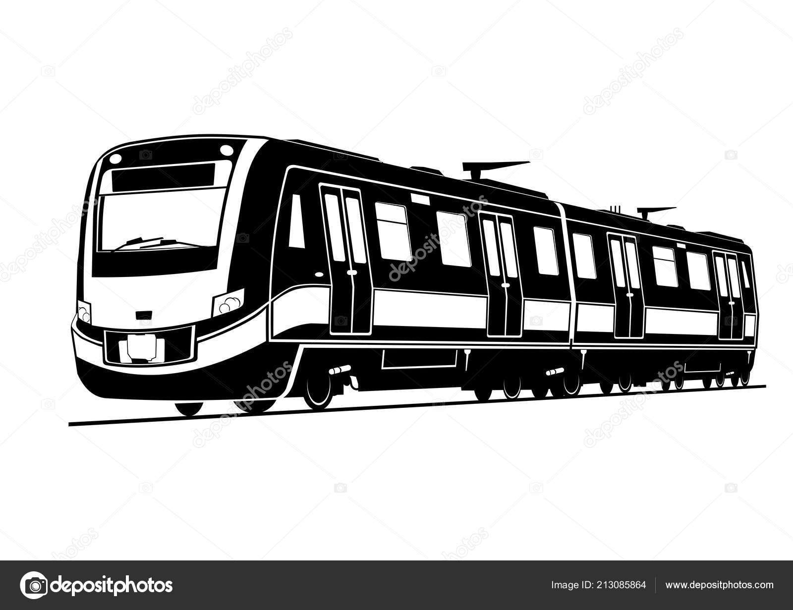 aba66775b5b1 Train Silhouette Modern Passenger Train Black White Flat Vector — Stock  Vector