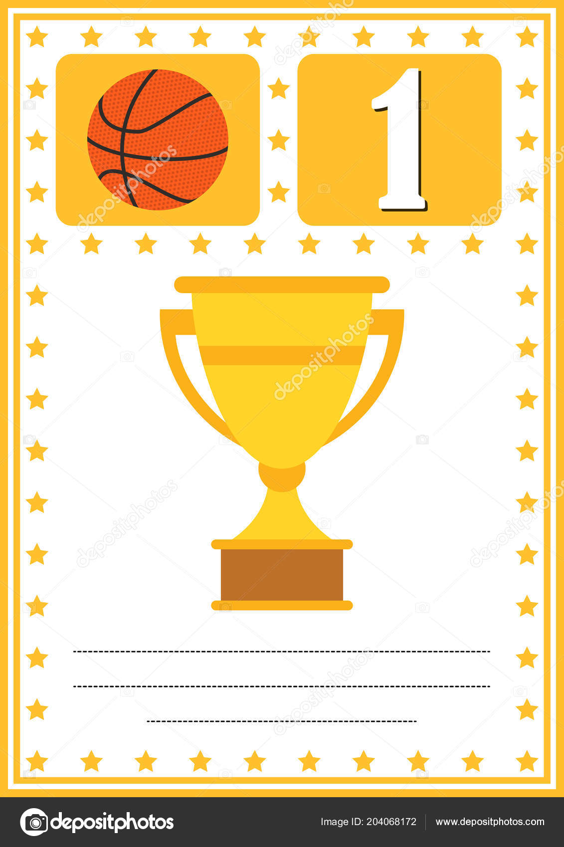 modern basketball certificate place your content kids first place