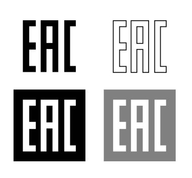 EAC EurAsian Conformity mark Vector isolated mark symbol on black background set . icon