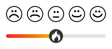 Customer icon emotions satisfaction meter with different symbol on white background . icon
