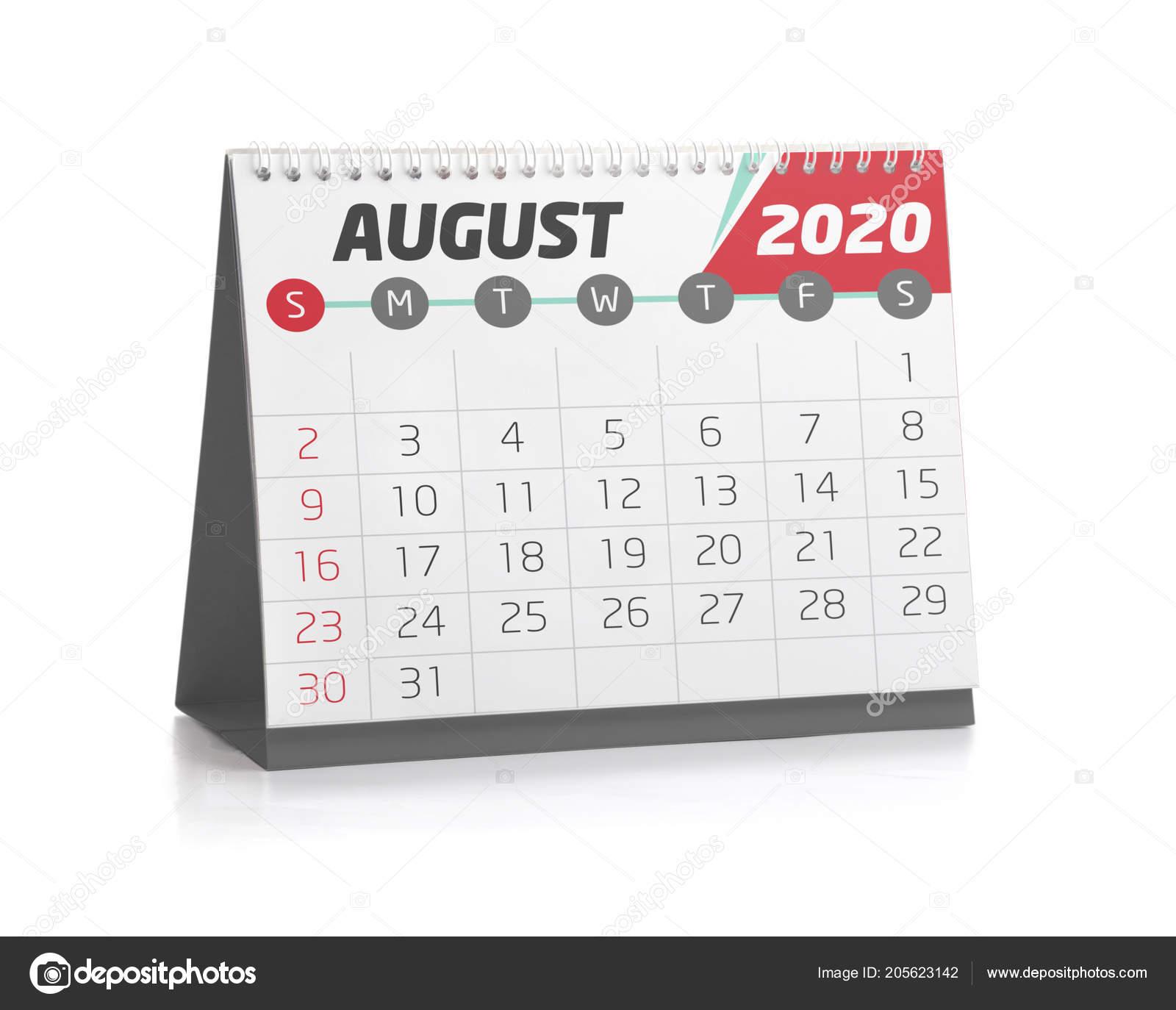 Calendario Di Agosto 2020.Agosto Ufficio Bianco Calendario 2020 Isolato Bianco Foto