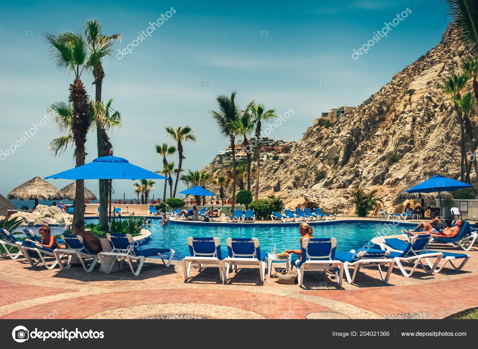 Hotel pool with people  Cabo San Lucas Mexico August 2007 View Hotel Pool People ...