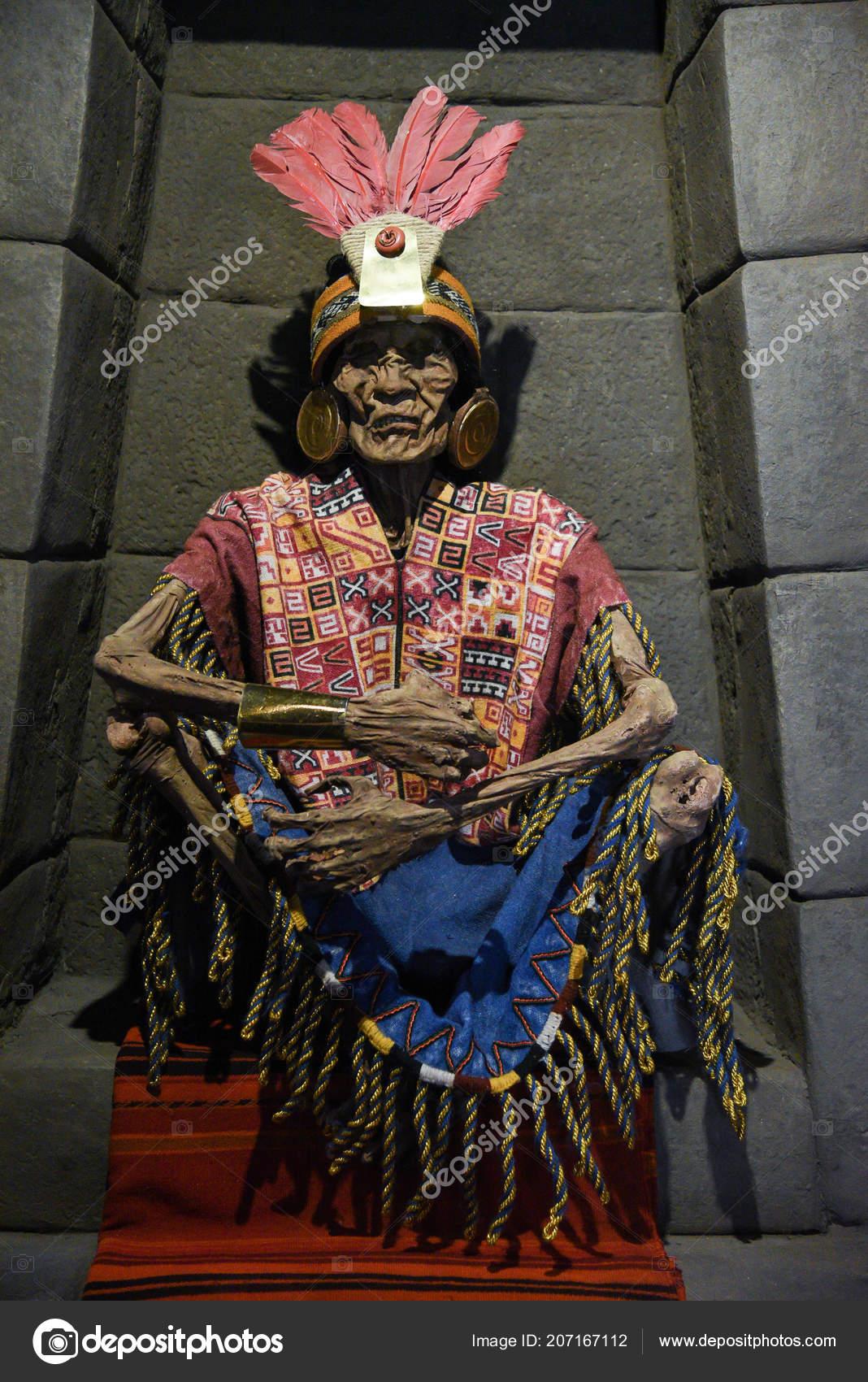Cuzco Peru 2017 Peruvian Mummy Pachacutec Skeleton Seating Position Dressed Stock Editorial Photo C Shootme 207167112