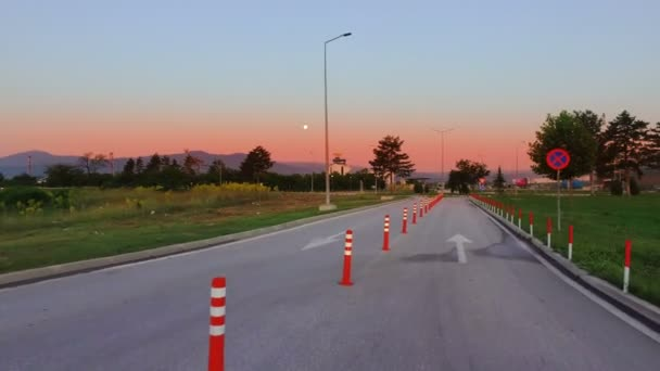 Road construction work signalization with many traffic cone signs