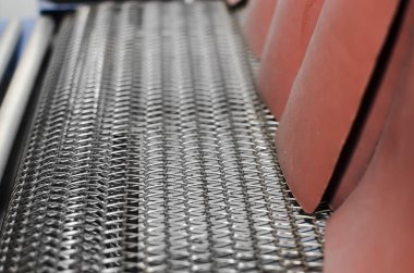 Print production plant. detail of conveyor belt transportation unit