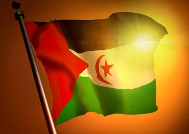 waving Western Sahara flag on sunset background