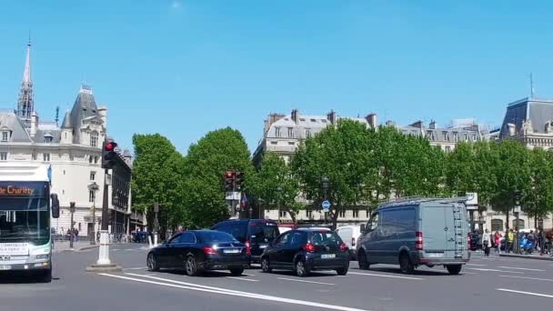 Public Bus Transport traffic at spring sunny day in Paris, SLOW MOTION