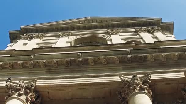 Exterior detail of  historical building of Sorbonne University in Paris, France