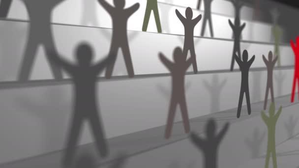 Führung im Team, Papierschnitte auf der Treppe