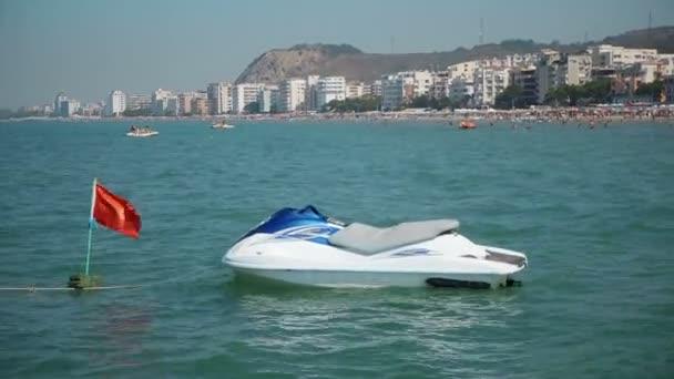 A Jet-ski waverunner parked on the shoreline in Durres, Albania