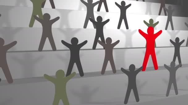 Leadership concept, red man on stairs among blacks