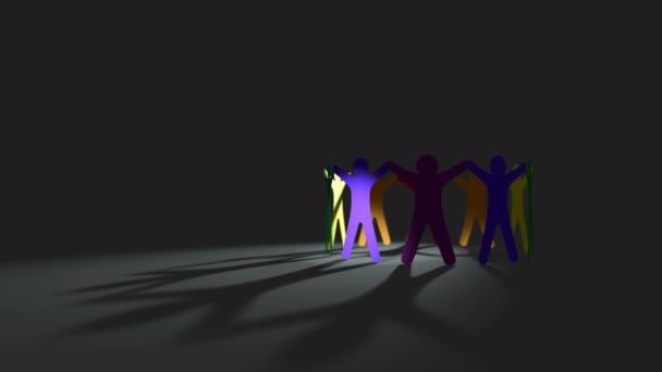Multisexuelle Orientierung der lgbt-Bewegung, Papierpuppenmenschen schneiden sich im Kreis, Schleifenhintergrund