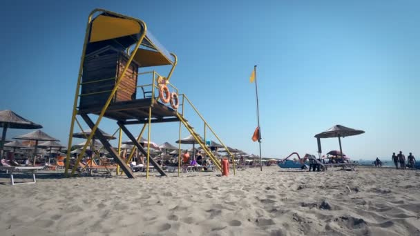 Life guard tower on luxury beach resort in Durres, Albania