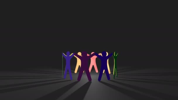 Papierpuppe Kettenausschnitt Menschen - Konzept für multisexuelle lgbt Community-Gruppe oder Team, Schleifenhintergrund