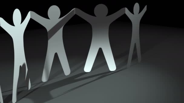 Teamwork concept. Human paper doll people cut rotating in circle with shadows reflection on gray floor, LOOP background