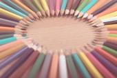 arranged in a circle of color pencils, vintage tone