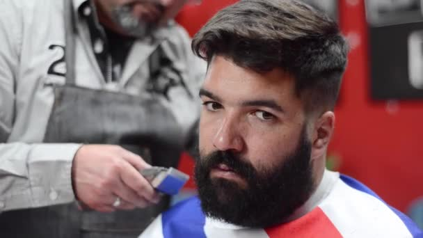 Handsome bearded man getting haircut by hairdresser at the barber shop.