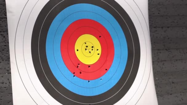 Target for archery shooting. Arrow hitting the target. Hit the goal, success and achievement concept.