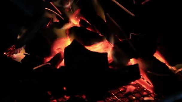 Dřevo hoří na tmavém pozadí. Oheň a plamen.