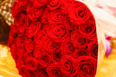 Huge bouquet of red roses