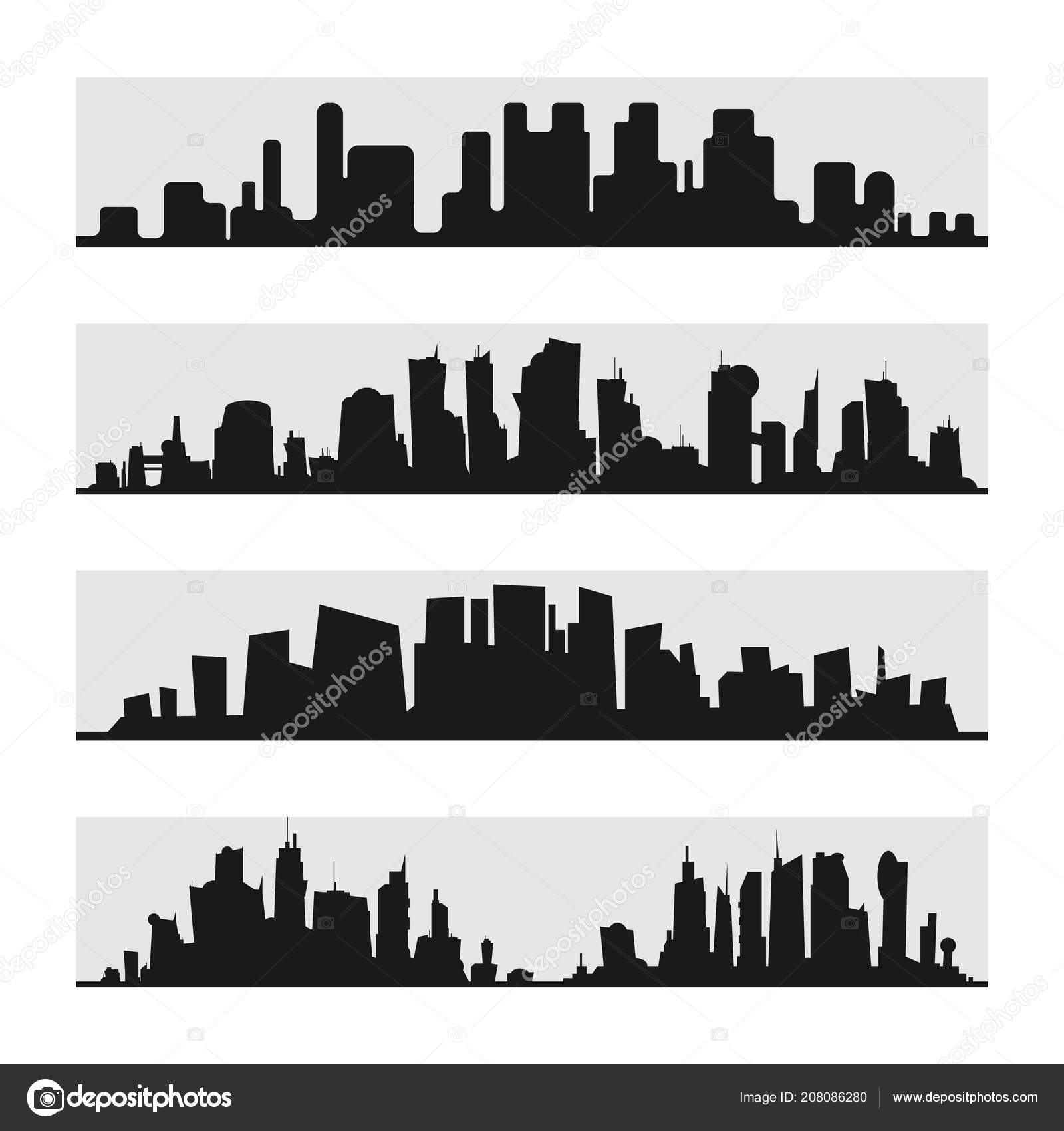 City skyline flat style ikril 208086280 vector black city silhouette icon set isolatede silhouette of the city in a flat style on white backgroun ikril voltagebd Images