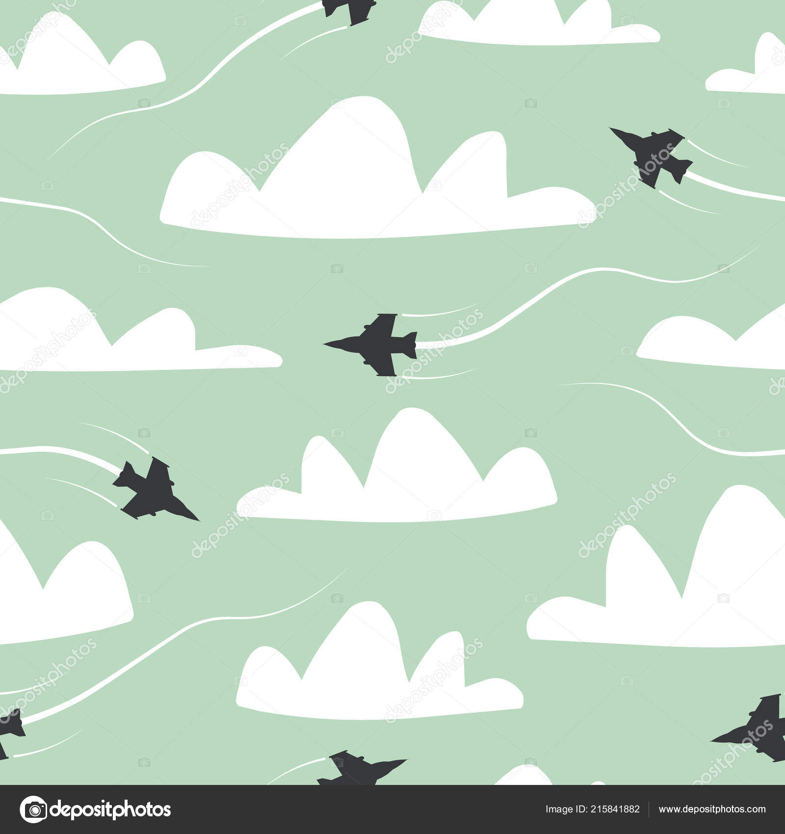 Seamless Pattern Planes In The AirWeb Site Page And Mobile App Design ElementAir Traffic SilhouetteAir TravelAirplane RoutesVector Illustration