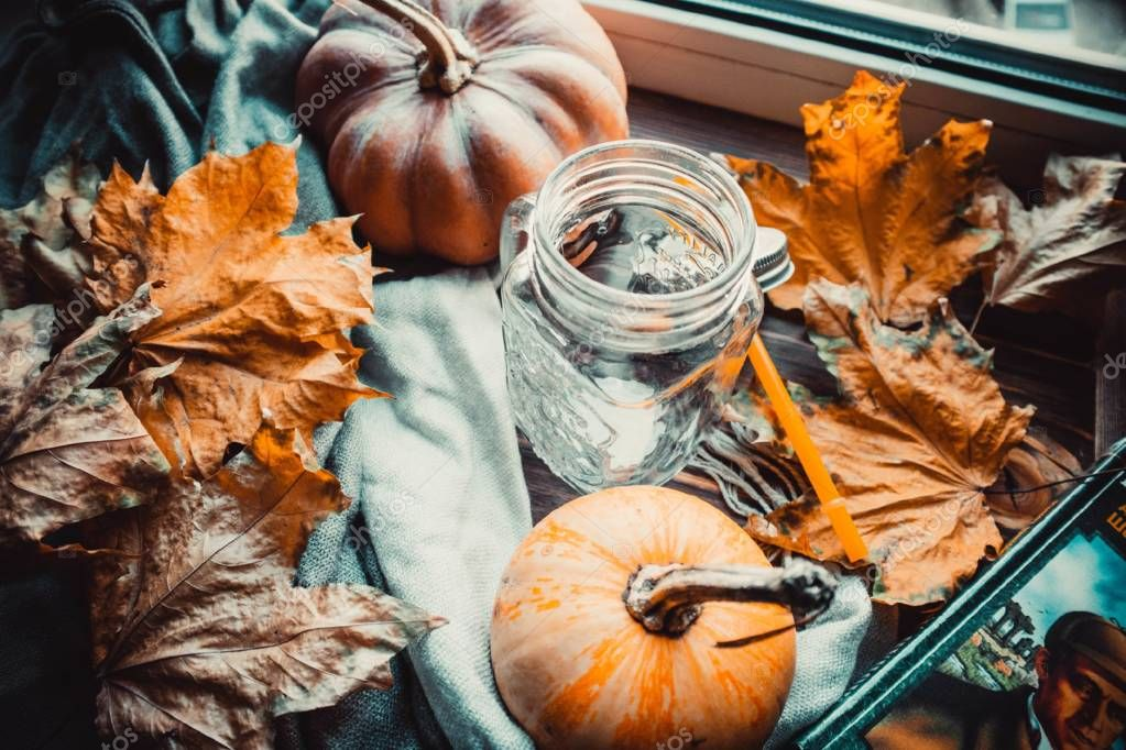 Stylish flatlay arrangement with pumpkins and other stationary accessories.