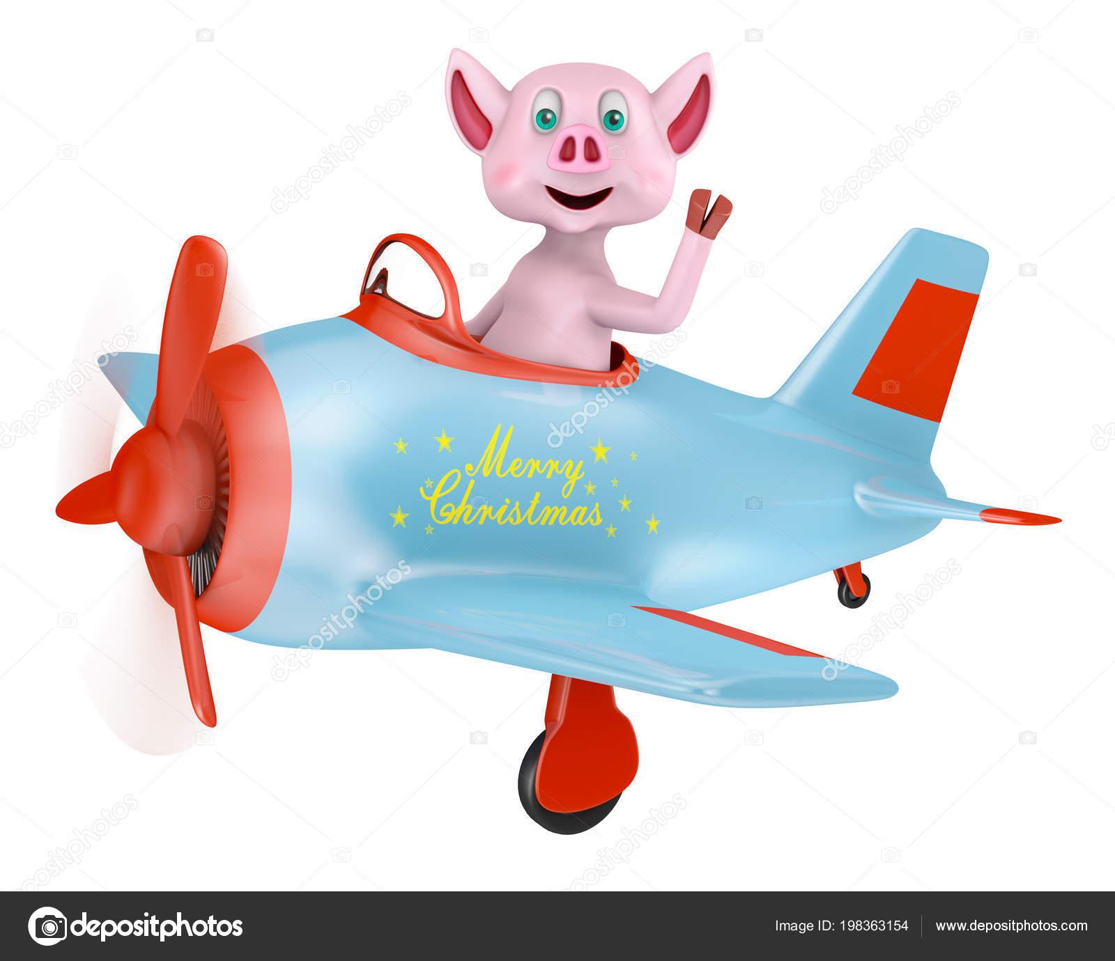 Frohe Weihnachten Flugzeug.Ferkel Einem Flugzeug Mit Der Aufschrift Frohe Weihnachten