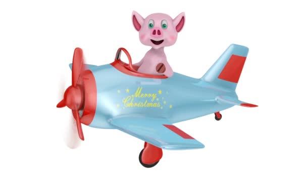 Frohe Weihnachten Flugzeug.Ferkel In Einem Flugzeug Mit Der Aufschrift Frohe Weihnachten Auf Weissem Hintergrund