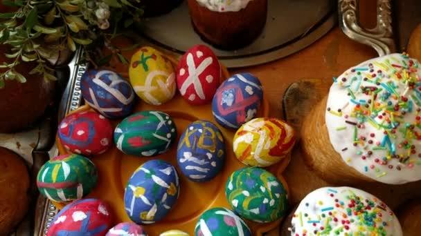 Húsvéti sütemények és festett tojásokat a húsvéti ünnep közelről