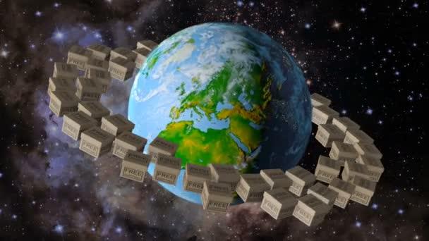 Planeta Země, kolem kterého se točí pole, které říká Doprava zdarma. 3D vykreslování. Prvky tohoto obrázku jsou zařízeny NASA