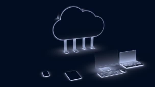 Egy felhő nyilakkal, ami egy számítógépre és táblagépre mutat egy kék színű okostelefonnal. 3d renderelés.
