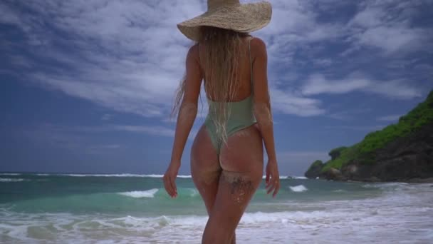 Beautiful adult girl with long blond hair in blue swimsuit and straw hat goes on the pink sand beach, magnificent back view of girl enjoying ocean somewhere in tropics