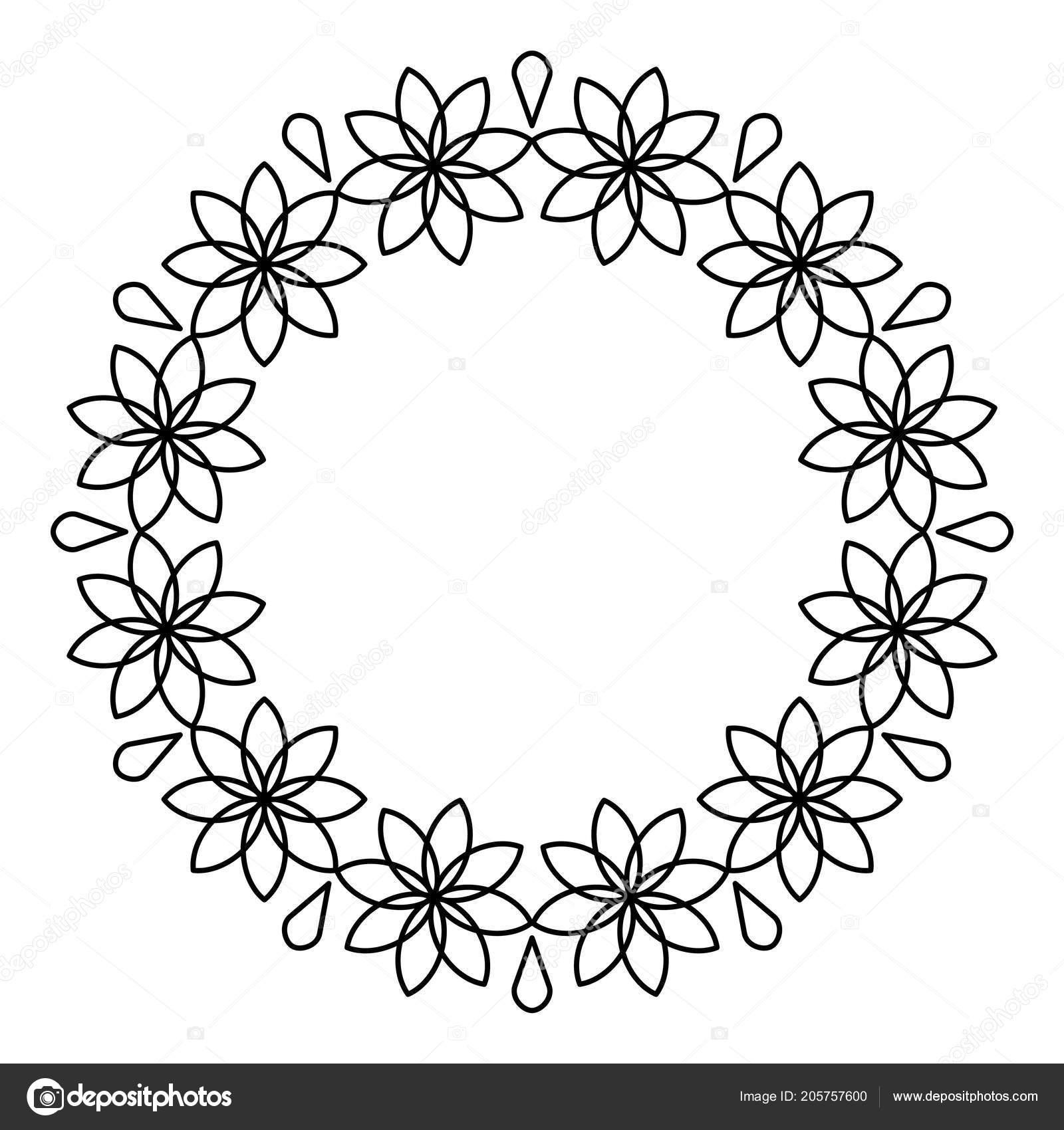 Photo Frame Outline Design Outline Flowers Circle Frame Design Monochrome Floral Border Stock Vector C Petra Id Hotmail Com 205757600