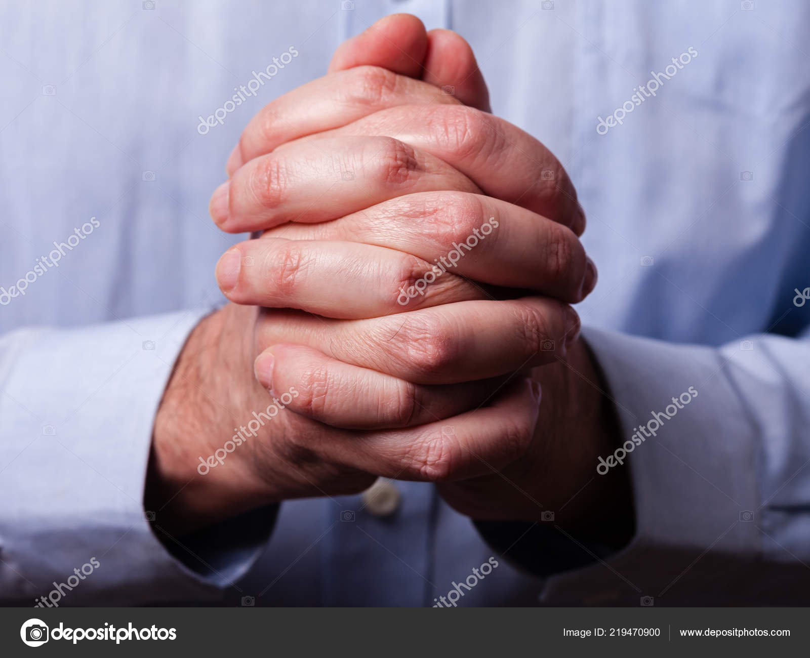 fbeae4961 Close Closeup Hands Faithful Mature Man Praying Hands Folded Interlaced–  stock image