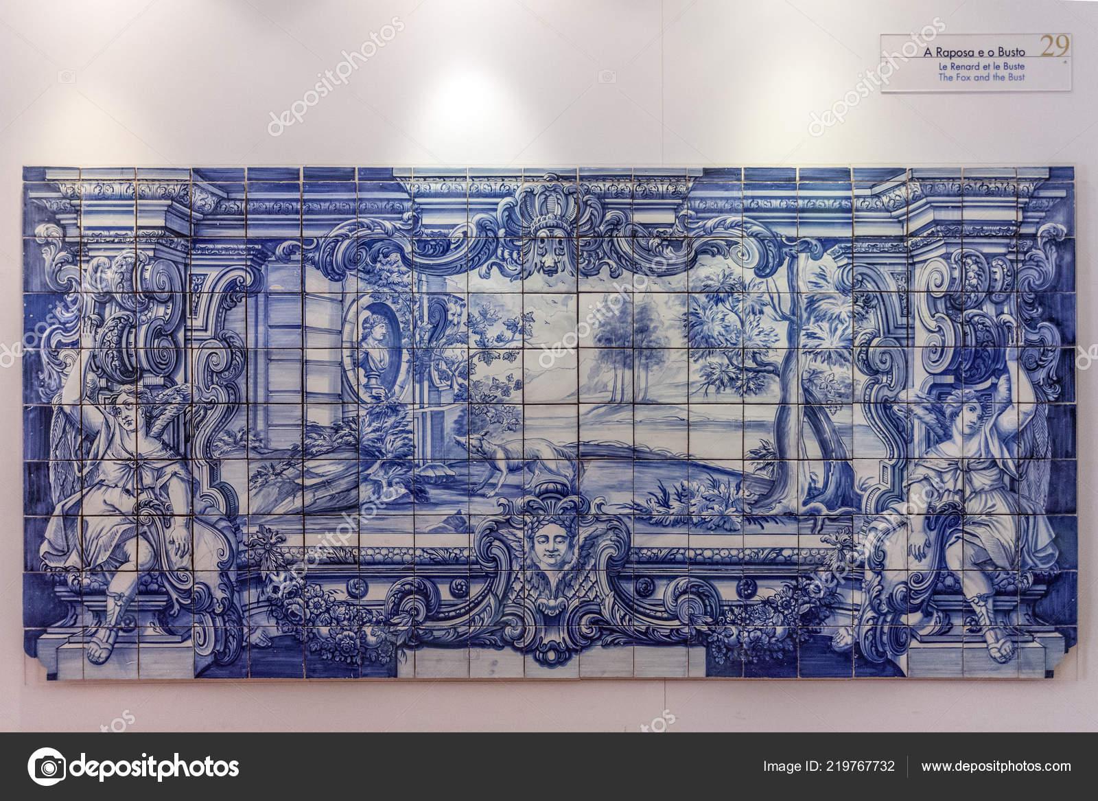 Favole fontaine volpe busto illustrato th portoghese piastrelle